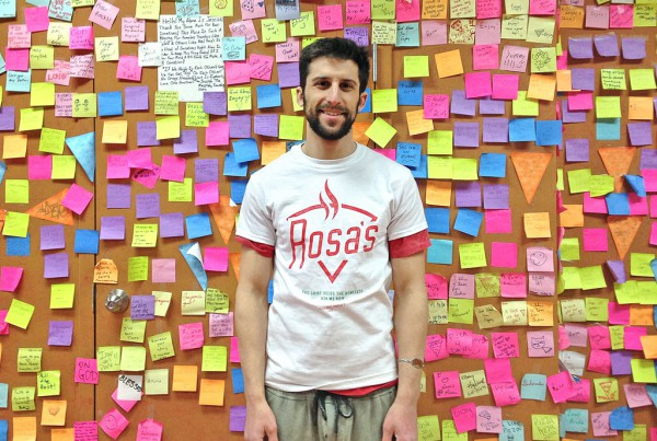 Rosa's Fresh Pizza owner Mason Wartman in Philadelphia invites customers to pay it forward.