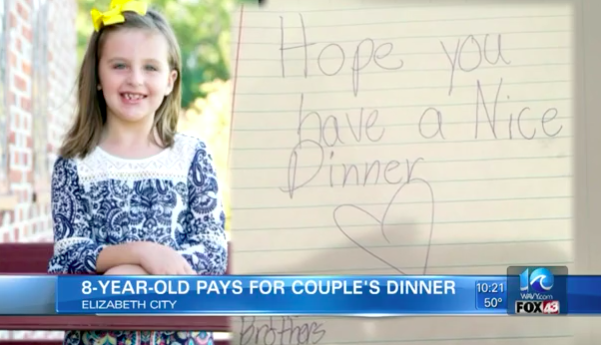 Eight-Year Old Buys Dinner for Couple